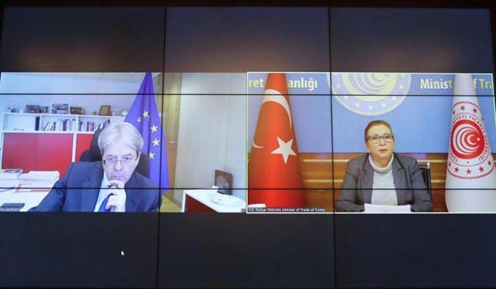 Bakan Pekcan, AB Ekonomi Komiseri Gentiloni ile görüştü